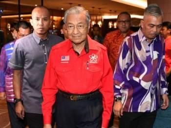 Tun Dr Mahathir Mohamad yang juga Pengerusi Bersatu menghadiri Taklimat Khas Pihak Berkuasa Wilayah Pembangunan Iskandar (IRDA) di sebuah hotel hari ini. Foto: Bernama