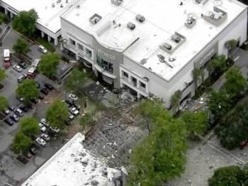 Pemandangan udara impak kerosakan sekitar lokasi kejadian.