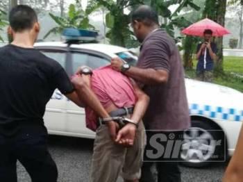 Suspek ditahan polis untuk siasatan lanjut.