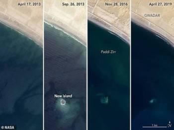 Gambar satelit menunjukkan pulau itu yang terbentuk kira-kira enam tahun lalu mula tenggelam menerusi imej diambil pada April lalu.