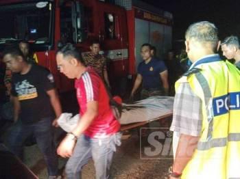 Mayat mangsa dibawa ke Hospital Sungai Bakap untuk bedah siasat.