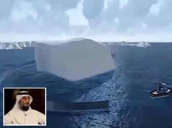 Tali logam tersebut akan diikat pada sekeliling aisberg tersebut sebelum ditarik bot. (Gambar kecil Abdullah Alshehi)