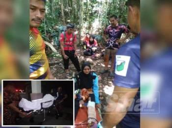 Mangsa yang patah kaki kiri dibawa turun menggunakan alat pengusung oleh pasukan penyelamat. (Gambar kecil, mangsa tiba di khemah operasi bomba pada jam 10.46 malam tadi sebelum dibawah ke klinik kesihatan berdekatan.)