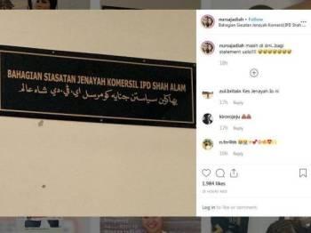 Sajat memuat naik gambar berserta kapsyen di laman Instagramnya dipercayai berkaitan penahanan bekas pekerjanya, baru-baru ini.