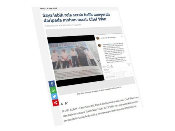 Paparan skrin antara berita berkaitan kontroversi pelantikan Chef Wan sebagai Tokoh Ikon Felda 2019.