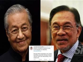Antara ucapan dikongsikan pemimpin kepada Tun Dr Mahathir.