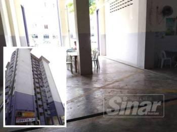 Tempat lokasi ditemui mati (Gambar kecil: Bangunan Pangsapuri Bayu Puteri... lokasi mangsa terjun)