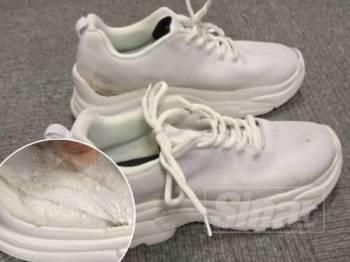 Polis menjumpai dadah disyaki jenis syabu yang disorokkan di dalam tapak kasut salah seorang suspek di KLIA2, Sabtu lalu.