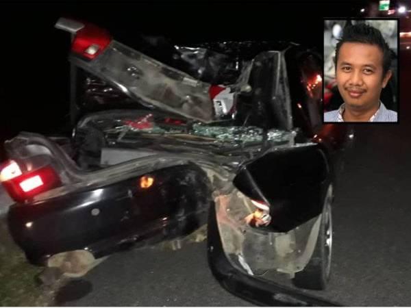 Keadaan bahagian belakang Proton Wira selepas kemalangan berlaku. (Gambar kecil: Mohd Shamsul Iftitah)