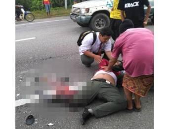 Seorang pelajar putus kaki kanan setelah merempuh belakang sebuah lori ais dalam kemalangan di Kilometer 8, Jalan Taiping-Selama petang semalam.