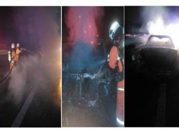 Anggota bomba membantu memadamkan kebakaran kereta Toyota Camry yang terbakar dalam kemalangan melibatkan tiga kenderaan, pagi tadi.