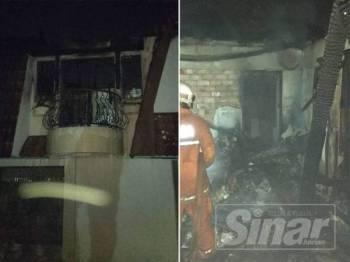 Anggota bomba memadamkan kebakaran di bilik rumah banglo di Jalan Batai Bukit Damansara yang terbakar awal pagi tadi.