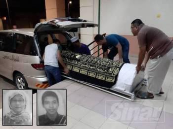 Ahli keluarga mengangkat jenazah kedua-dua mangsa untuk dibawa pulang ke Kampung Sejuk, Kuala Atok dan Felda Tersang 2, Raub malam tadi. Gammbar kecil: Nur Al Ashiqin dan Muhamad Ashraf