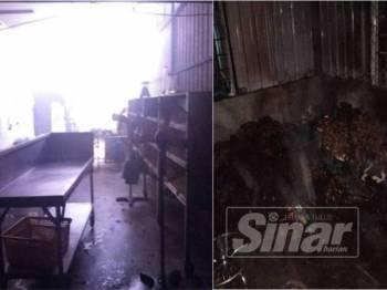 Bahagian dalam kilang yang mengalami kerosakan selepas berlaku kebakaran di premis itu malam tadi.
