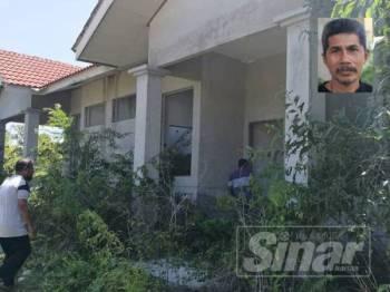 Keadaan rumah di Taman Perumahan Jaza Idaman, Cherang Ruku yang dinaiki semak. Gambar kecil, Abdul Rani Ibrahim.