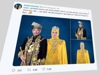 Tunku Azizah Aminah Maimunah Iskandar bersama Yang di-Pertuan Agong Al- Sultan Abdullah Ri'ayatuddin Al-Mustafa Billah Shah. FOTO: TWITTER TUNKU AZIZAH