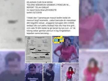 Gambar suspek yang ditularkan netizen di laman sosial.