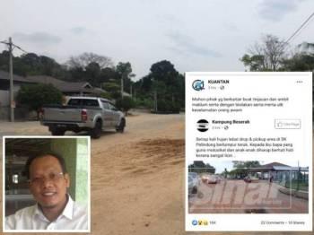 Keadaan jalan di hadapan SK Pelindung dan jalan berlumpur yang tular di Facebook hari ini. (Gambar kecil, Andansura Rabu)
