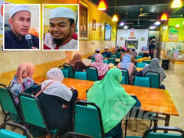 Suasana pembelajaran dalam kelas yang diadakan di restoran terbabit setiap Selasa bermula Februari lalu. (Gambar kecil: Mohd Zarimi (kiri), Nawawi)