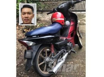 Motosikal milik mangsa hanya mengalami kerosakan kecil. Gambar kecil, Ganti Jimmy.