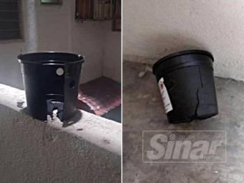 Bekas hitam yang digunakan sebagai projek kawalan denggi menggunakan nyamuk aedes berWolbachia dirosakkan pihak tidak bertanggungjawab. - FOTO: Ihsan FB KKM