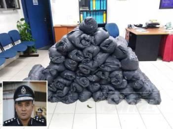 Sebanyak 45 bungkusan mengandungi daun ketum dirampas dalam satu operasi di Kampung Sungai Rubana semalam. (Gambar kecil, Mohd Marzukhi)