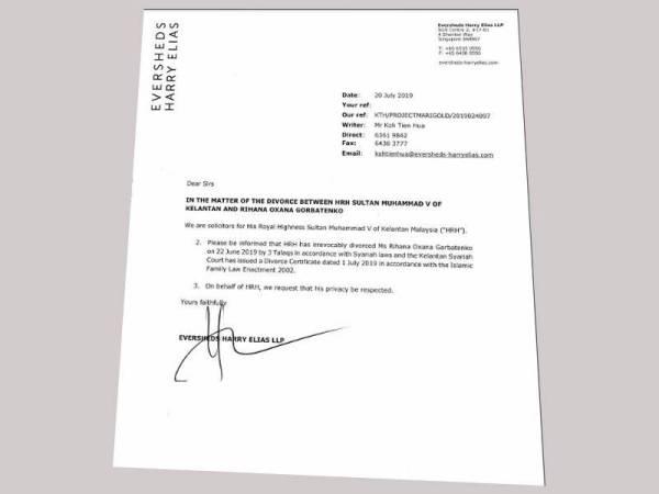 Peguam Sultan Kelantan Sahkan Rihana Oksana Dicerai Talak Tiga