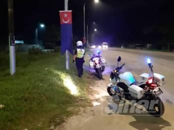 Polis membuat rondaan susulan kejadian vandalisme terhadap bendera dan gegantung yang dipasang di beberapa lokasi sepanjang jalan sempena program KMJ 2019.