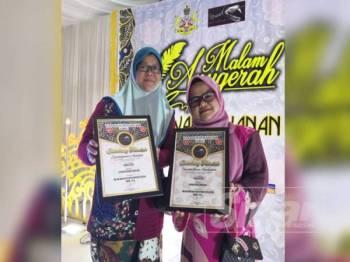 Zaimatuljuwita (kiri) dan Hazelen (kanan) masing-masing memenangi tempat ketiga bagi kategori Rencana Akhbar Cemerlang dan Laporan Khas Akhbar Cemerlang 2018.