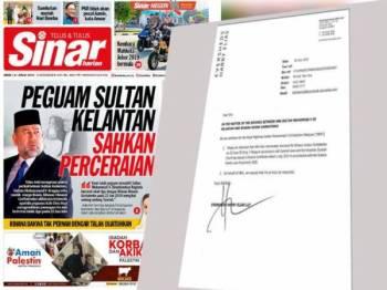 Muka hadapan Sinar Harian hari ini dan pengesahan kenyataan mengenai cerai talak tiga Sultan Kelantan.