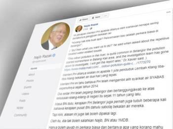 Najib mempertikaikan kenyataan Xavier mengenai isu pencemaran air di Selangor menerusi hantaran di Facebooknya hari ini.
