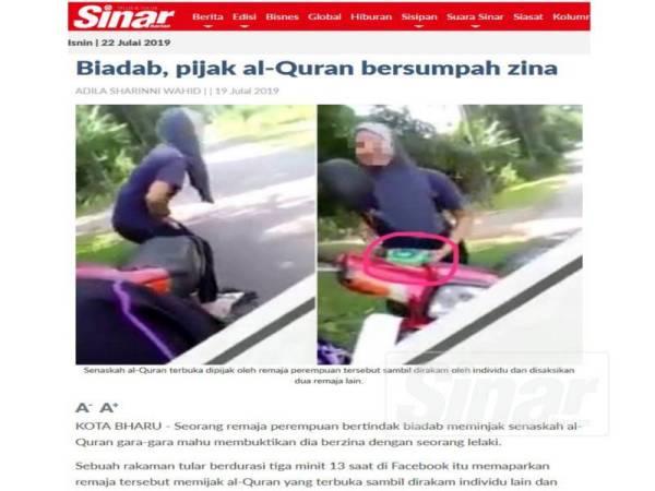 Laporan Sinar Harian pada 19 Julai lalu.