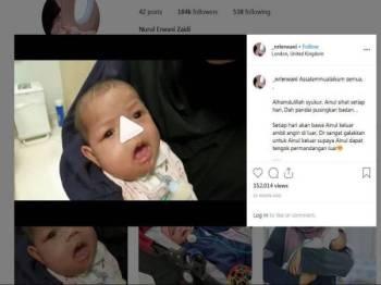 Berita gembira mengenai perkembangan dan kesihatan Ainul dimuatnaik oleh ibunya di Instagram semalam.