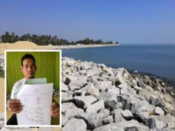 Keadaan Pantai Sabak yang kini dibenteng menggunakan batuan groin untuk menghalang hakisan ombak. (Gambar kecil: Azam menunjukkan geran tanahnya yang sudah ditelan laut sejak beberapa tahun lalu.)