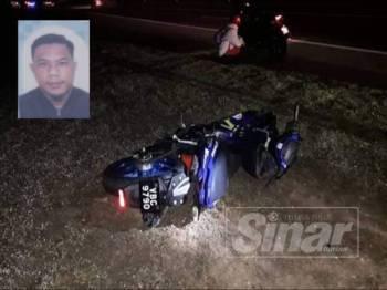 Motosikal ditunggang mangsa terlibat dalam kemalangan di Kilometer 9.5 Lebuhraya Kuala Lumpur - Kuala Selangor (LATAR), berhampiran Ijok pagi tadi. Gambar kecil:Ahmad Shaid Mohtar