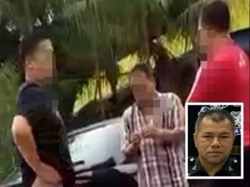 Polis kini memburu dua lelaki yang menyerang seorang guru dalam kawasan sekolah, semalam. (Gambar kecil: Nik Aminudin)