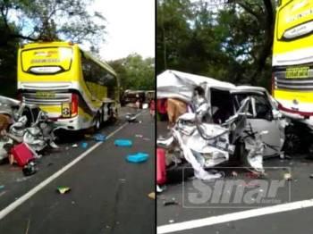 Video berdurasi hampir dua minit itu menunjukkan kemalangan membabitkan empat lori, dua bas dan sebuah kereta yang remuk di beberapa bahagian.