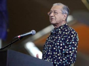 Perdana Menteri, Tun Dr Mahathir Mohamad ketika menyampaikan ucapan Pelancaran Logo Tahun Melawat Malaysia 2020 di Terminal Utama Lapangangan Antarabangsa Kuala Lumpur (KLIA) di sini hari ini. - Foto ASRIL ASWANDI SHUKOR