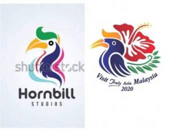 Perbandingan logo asal TMM2020 dengan imej yang diambil netizen di Shutterstock.
