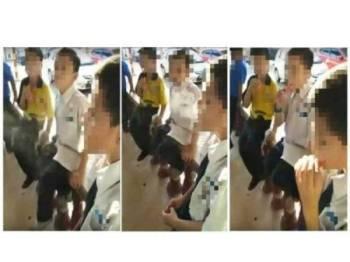 Tangkap layar video tular menunjukkan sekumpulan murid sedang seronok menghisap gula-gula yang mengeluarkan asap di Pekan Papar, Sabah.