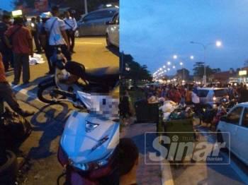 Mangsa yang terbaring di atas jalan raya selepas terbabit dalam kemalangan di Kampung Limbat Kota Bharu petang semalam. Gambar kanan, lokasi kemalangan di tempat pembuangan sampah di Kampung Limbat Kota Bharu.
