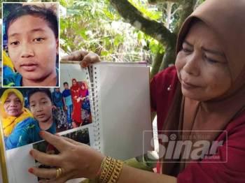 Norma menunjukkan gambar anak saudaranya yang hilang sejak Sabtu lepas. - Gambar kecil: TENGKU AHMAD HIRZAN