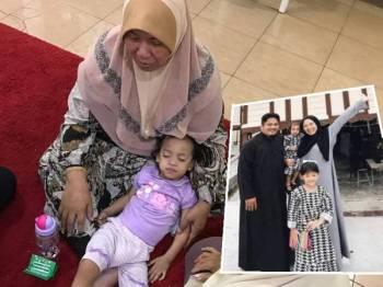 Hani Safina terlena di pangkuan neneknya, Fatimah Mohd Yatim. Gambar kanan, Hana Safiyyah begitu rapat dengan Aizat Ahmad yang dipanggil Ayah Chik.