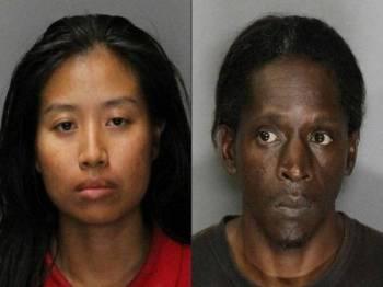 Angela Phakhin (kiri) dan tunangnya Untwan Smith mendakwa mahu menyingkirkan syaitan dari tubuh anak Phakhin berusia tiga tahun. - Foto AFP