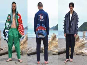 KOLEKSI fesyen rekaan Yoshio diinspirasi daripada corak dan warna bendera bot nelayan di Jepun.