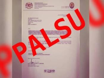 Sepucuk surat yang menggunakan nama ketua setiausaha KDN tersebar hari ini.