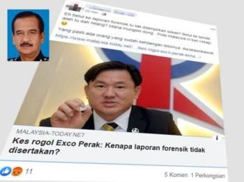 Kenyataan yang dimuat naik oleh Facebook 1Malaysia Tolak DAP berkenaan kes rogol libatkan Exco Perak yang tular sejak semalam. Gambar kecil, Razarudin.