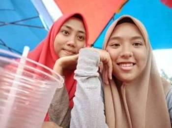 Nurbaiyah (kanan) dan Syafiqah ditemui selamat selepas menghilangkan diri selama 11 hari.