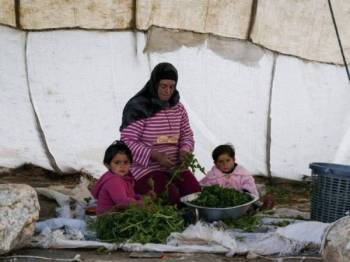Seorang wanita Palestin dan dua anak kecilnya mencuci sayur di luar khemah mereka di Kawasan C.