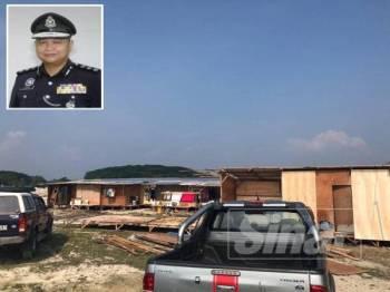 Mayat mangsa ditemui di sebuah rumah kongsi di tapak pembinaan Jalan Bemban/Kampung Pisang, Batu Gajah semalam. (Gambar kecil, Ahmad Adnan)